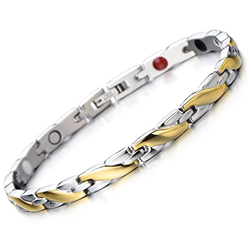 Magnetic Link Bracelet for Women Stainless Steel with Magnet, Free Link Removal Tool
