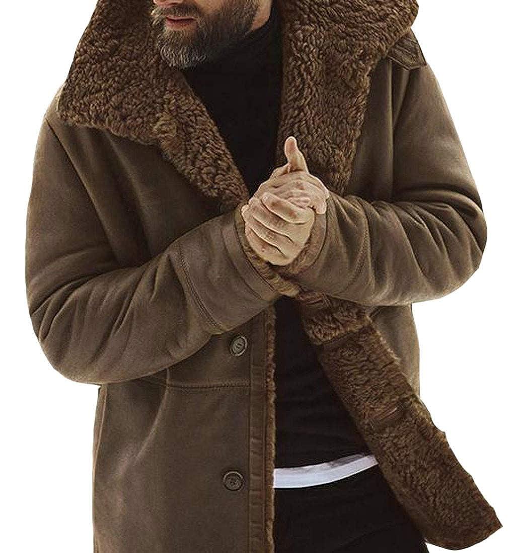 Sweatwater Men Winter Thicken Fleece Lined Single Breasted Outwear Long Jacket Coat