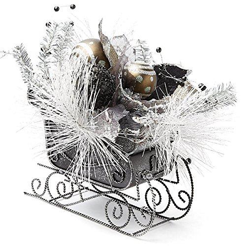 メタルソリwith Glittered Holiday人工PinesとボールオーナメントArrangement B0774XV11Y