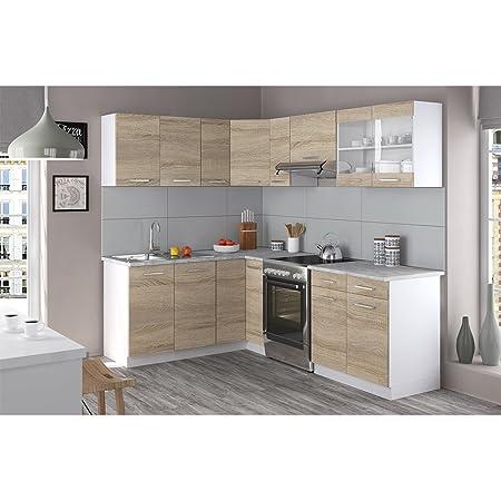 Vicco küchenzeile l 230cm küchenblock winkel eck einbau sonoma eiche frei kombinierbare einheiten r line amazon de küche haushalt