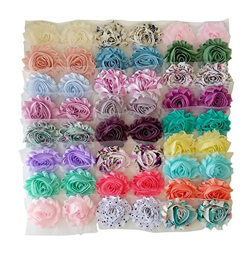 (Luxe Shabby Trim Collection - DIY Rosette Trim Kit - Includes 50 Pieces in 25 Colors! - Shabby Rosette Trim - Solid Colors and Prints - Great for Weddings, Baby Showers, Kids' Crafts, and More)
