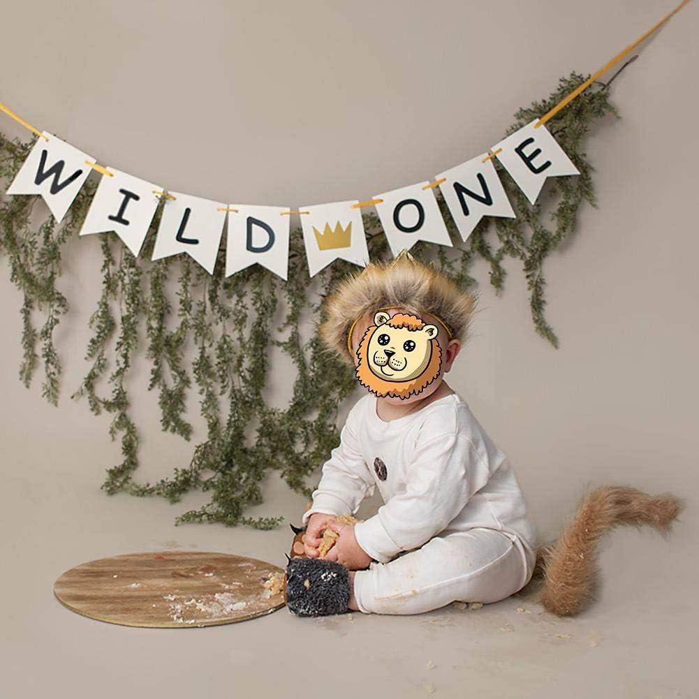 3 piezas para fotos de 0 a 18 meses FYMNSI Wild One Baby Boy Mono de manga corta y larga con corona y cola de felpa