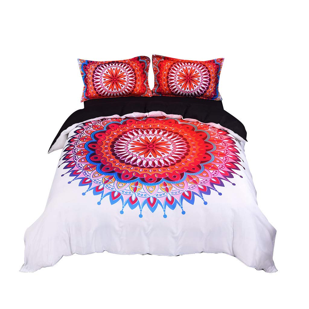 Beyonds Skin-Friendly 3 Piece Bed Set Red Deep Pockets Bedding Set Includes x1 Duvet Cover x2 Pillowcases - Soft Polyester Fabric - Home School Bed Decor