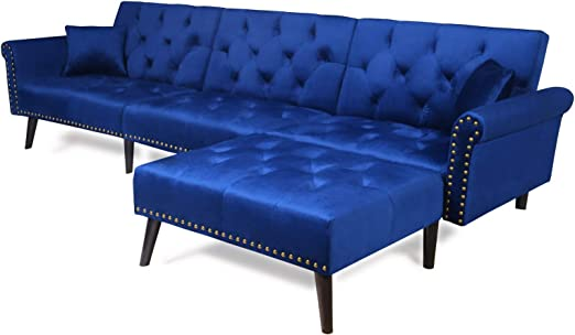 Amazon Com Sectional Sofa Bed With Chaise Recliner Back Modern