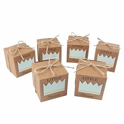 Astra Gourmet 50pcs princesa bebé ducha favor cajas + 50pcs Twine lazo, rústico Kraft bolsa
