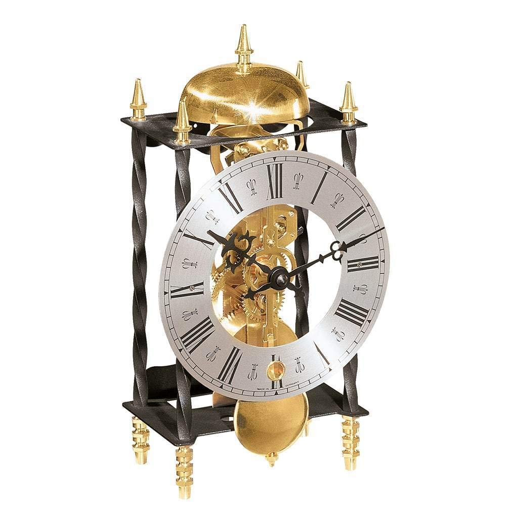 Qwirly Store: Galahad II Mechanical Mantel Clock #22734000701 by Hermle - Skeleton Antique Iron Table Clock with Chimes