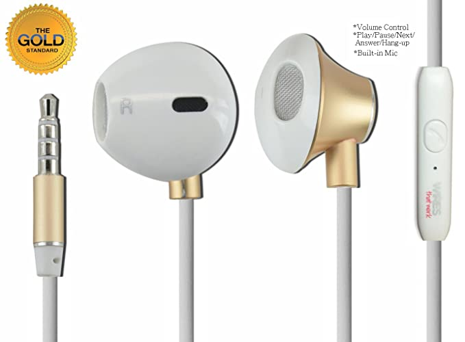modern style earphone replacement by wires that work (gold and white) stereo  earbuds,