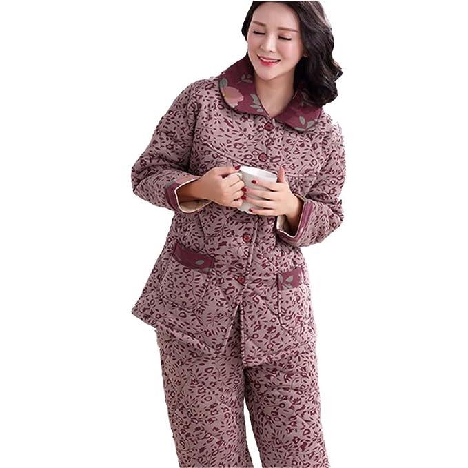 MOXIN Invierno Pijama Señoras Tres Gruesas De Algodón De Lana Ocio De Servicio A Domicilio Impreso rojo: Amazon.es: Ropa y accesorios