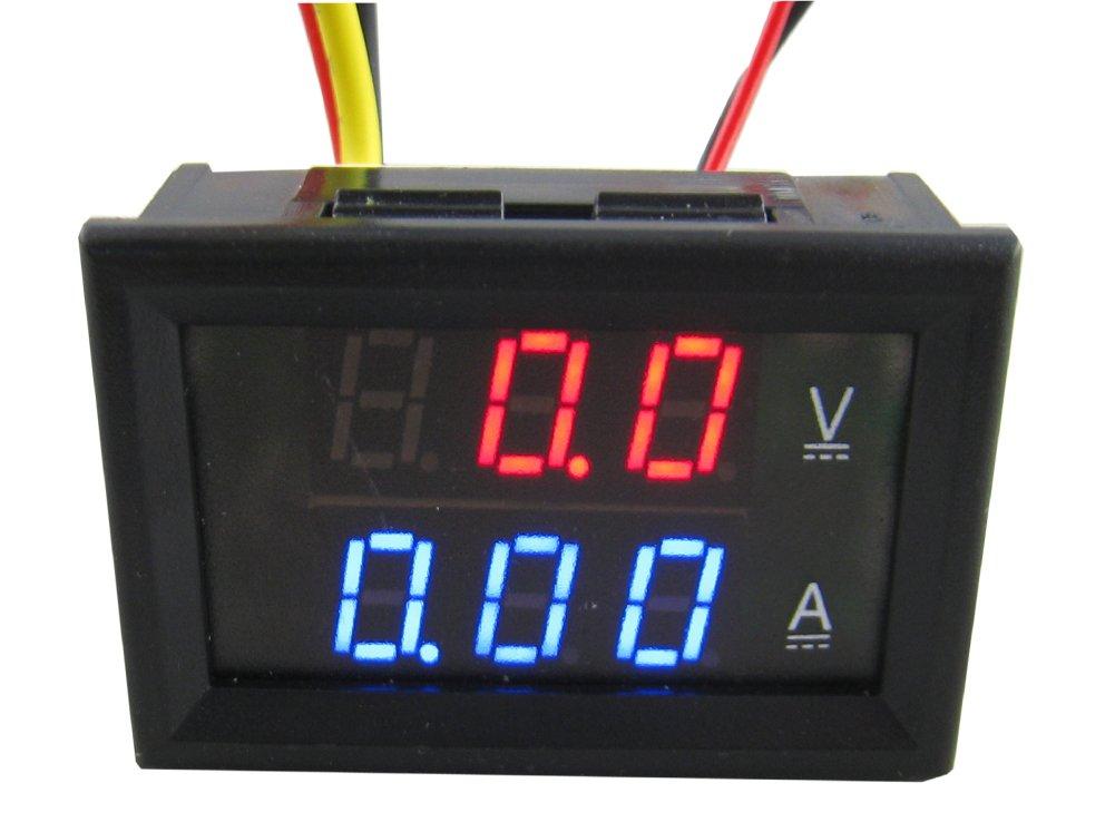 Yeeco DC4.5 – 30 V 50 A Digital DC Voltmeter Ammeter Testing Gauge Current Monitor Volt Amp Assayer V/A Panel Meter Multimeter with Built-In Shunt Red Blue Dual LED Display