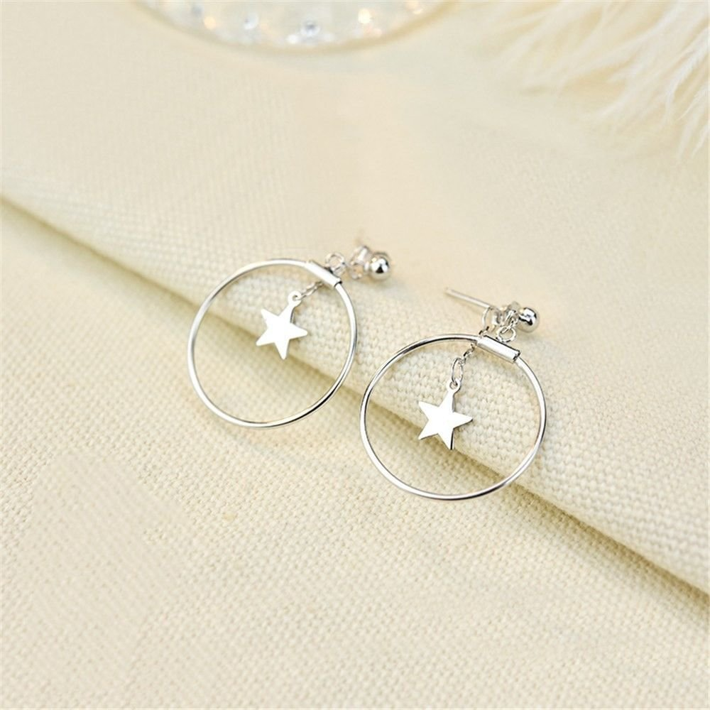 Ling Studs Earrings Hypoallergenic Cartilage Ear Piercing Simple Fashion Earrings Ear Jewelry Circle Behind The Stars