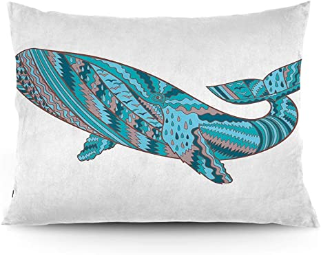Amazon Com Gultmee Throw Pillow Cushion Cover Humpback Whale Figure By Ethnic Abstract Sea Underwater Artwork Print Decorative Standard Queen Size Printed Pillowcase 14 X20 Home Kitchen