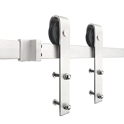 SMARTSTANDARD SDH0080STAINLESS03 Stainless Steel Sliding Barn Hardware Kit,  8ft Single Rail, Fit 48u0026quot;