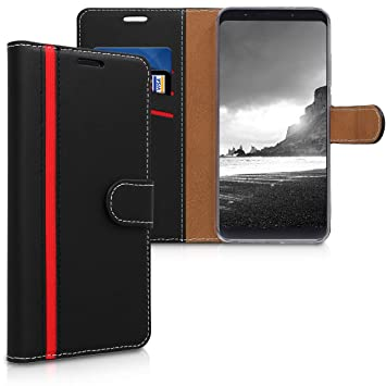 kwmobile Funda para Xiaomi Redmi Note 5 (Global Version) / Note 5 Pro - Carcasa de [Cuero sintético] - Case con Tapa y [Tarjetero] en [Negro/Rojo]