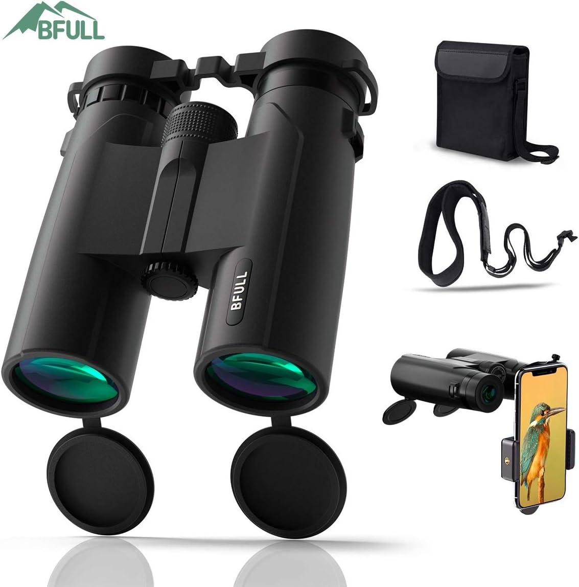 BFULL 10×42 Compact Binoculars for Adults, Powerful Binoculars with 21mm Large View Eyepiece, BAK4 Prism FMC Lens Binoculars for Bird Watching Hunting – Waterproof