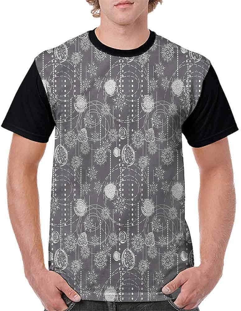 BlountDecor Cotton T-Shirt,Artful Blizzard Figures Fashion Personality Customization