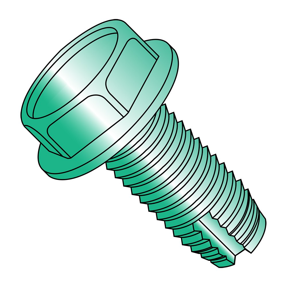 Green Zinc Plated Pack of 50 #10-32 Thread Size 3//8 Length 3//8 Length Steel Thread Cutting Screw Hex Washer Head Pack of 50 Type 1 Small Parts 11061WG