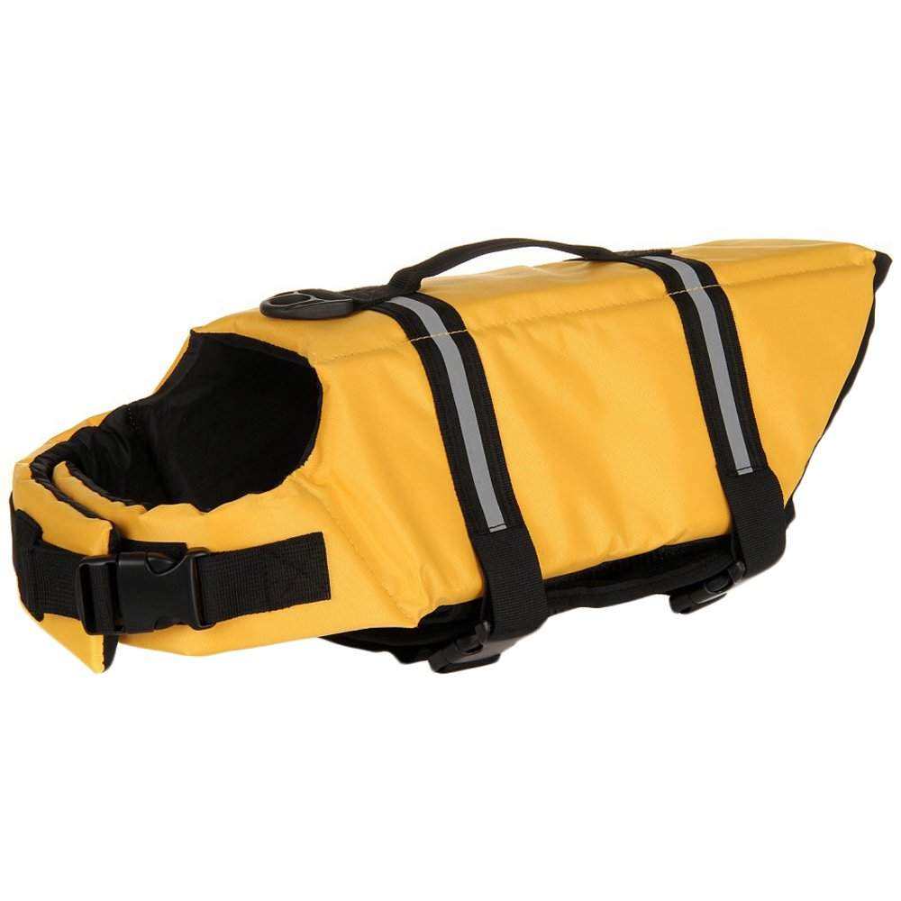 SILD Pet Life Jacket Size Adjustable Dog Lifesaver Safety Reflective Vest Pet Life Preserver Dog Saver Life Vest Coat for Swimming,Surfing,Boating, Hunting (L, Yellow)