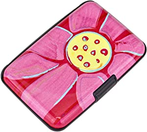 Elfish Mini RFID Aluminum Wallet Credit Cards Holder Business Card Case Metal ID Case for Men Women (Big pink flower)