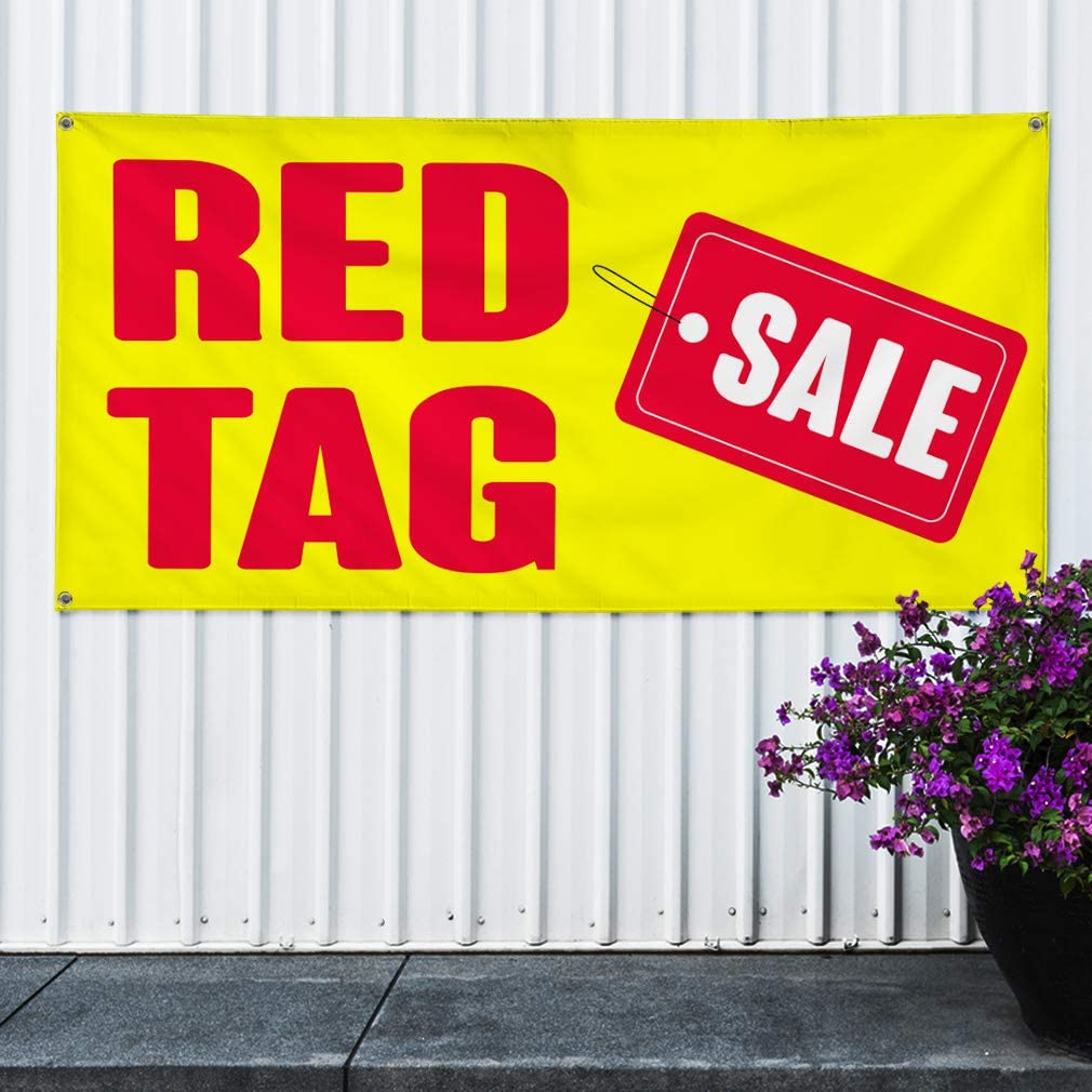 4 Grommets 24inx60in Set of 3 Multiple Sizes Available Vinyl Banner Sign Red Tag Sale #1 Style A Business Sale Marketing Advertising Red