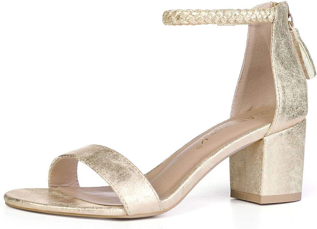 Allegra K Women Braided Ankle Strap Tassel Block Heel Sandals