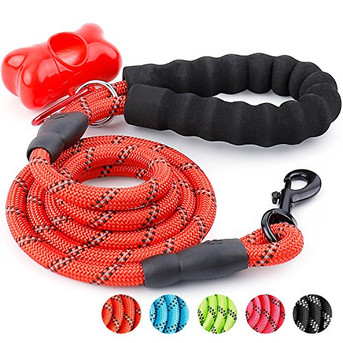Trary 5 FT Dog Leash with Comfortable Padded Handle, Reflective Leash for Night Safety, Thick Durable Nylon Rope for Small Medium Large Dogs, Red