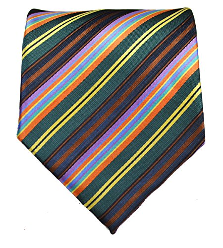 Striped Necktie . Green, Brown, Yellow, Pink, Blue, Orange