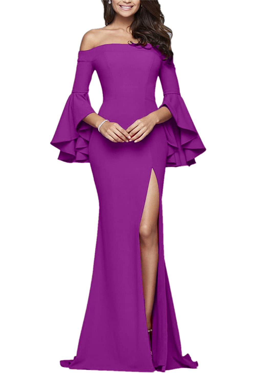 Purple Sweet Bridal Women's Butterfly Sleeves Evening Gown Side Slit Long Prom Dress