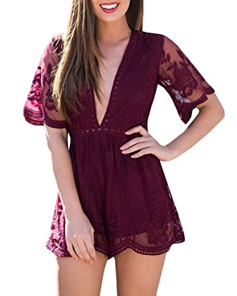 d23f238be50 Amazon.com  Imily Bela Women s Sexy Deep V Lace Romper Suit Zipper Back  Shorts See Though Jumpsuit  Clothing
