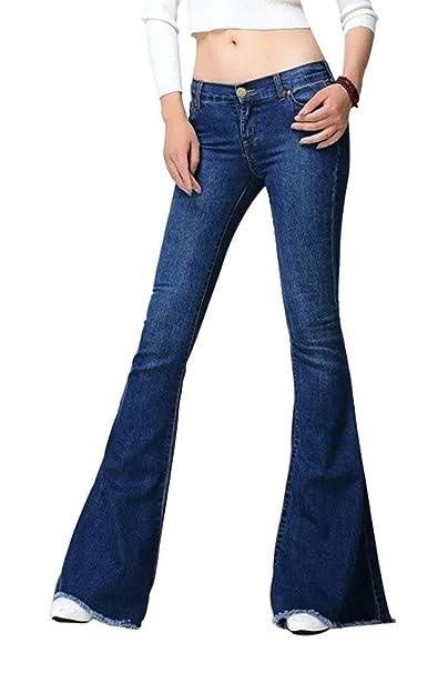 Pantalones Vaqueros De Las Mujeres Pantalones Acampanados ...