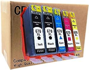 No-name Compatible Ink Cartridge Replacement for HP 670 XL 670XL HP670 HP670XL Deskjet Ink Advantage 3525 4615 4625 5525 6520 6525 Inkjet Printer (2 Black 1 Cyan 1 Magenta 1 Yellow, 5 Pack)