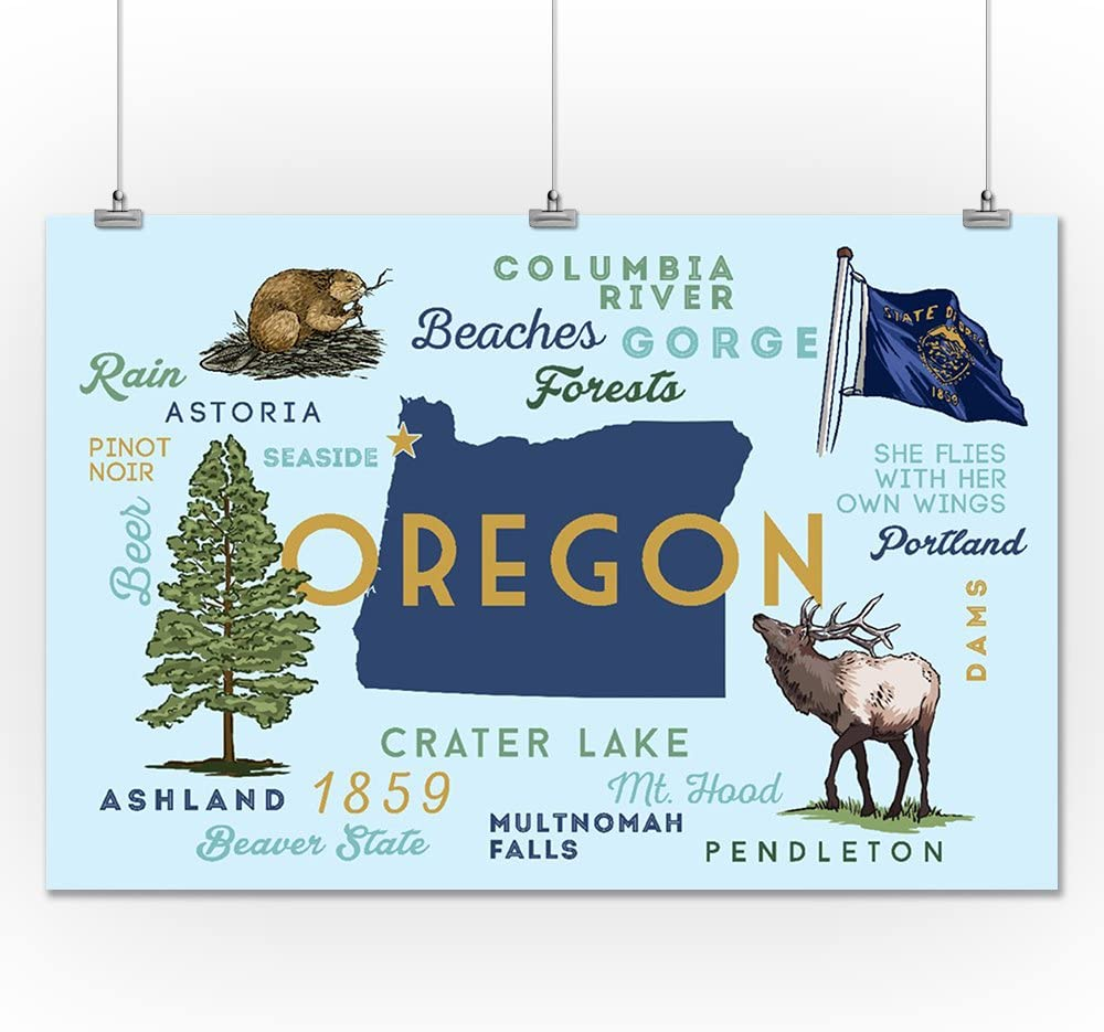 Oregon Typography and Icons 85925 Seaside The Oregon Life 24x36 SIGNED Print Master Art Print - Wall Decor Poster