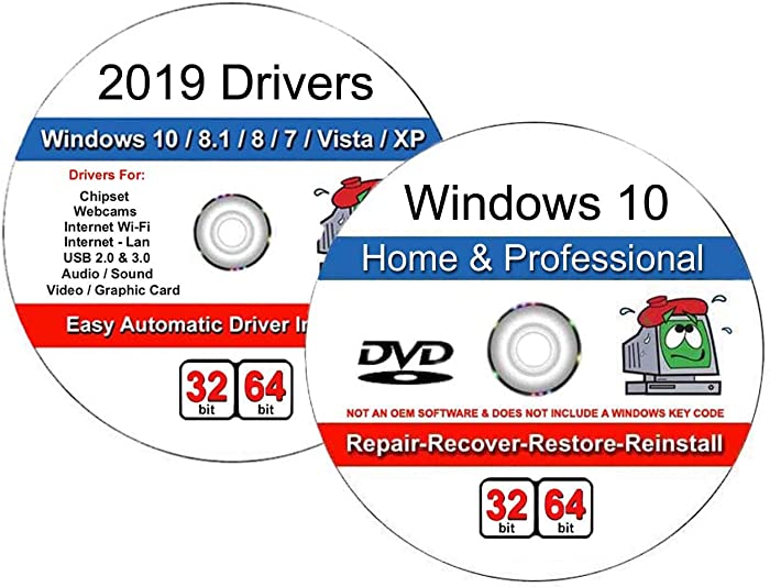 Windows 10 Home and Professional 32/64 Bit Recover, Repair, Restore or Re-install DVD with Windows 2019 Drivers Combo