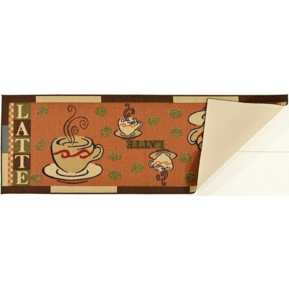 Ottomanson Sara's Kitchen Coffee Cups Design Mat Runner Rug with Non-Skid (Non-Slip) Rubber Backing, 20'' x 59'', Dark Orange by Ottomanson (Image #4)
