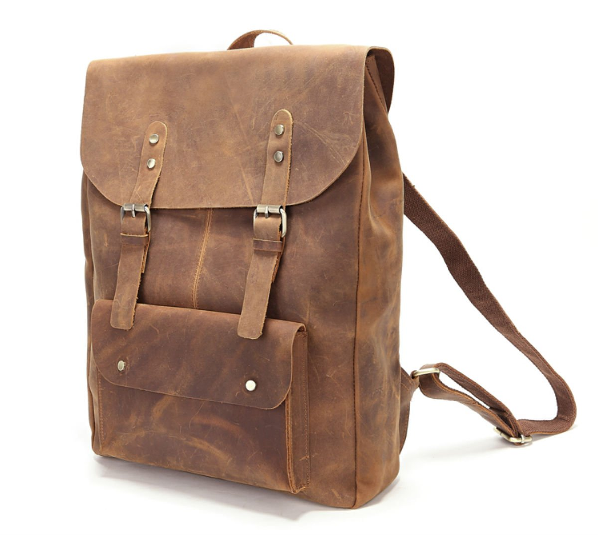 Genuine Leather Real Leather Backpack School Bag Knapsack for Camping by Loyofun