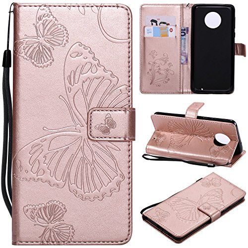 Price comparison product image NOMO Moto G6 Plus Wallet Case, Moto G6 Plus Case with Credit Card Holders, Folio Flip Leather Butterfly Case Cover with Kickstand Phone Case for Motorola Moto G6 Plus / G Plus (6th Generation), Rose Gold