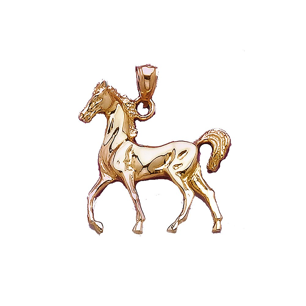 14k Yellow Gold Animal Charm Pendant, 2D Horse, High Polish