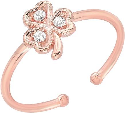 Mini Mini Jewels 14k Gold Brilliant Diamond Accented Letter V Initial Adjustable Ring