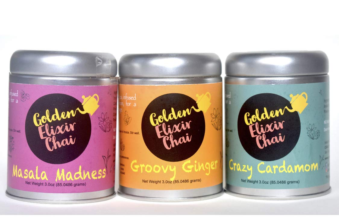 Golden Elixir Chai - The Chai Collection - Set of 3 tins - Makes 240 Cups - Masala Madness, Crazy Cardamom and Groovy Ginger - Instant Indian Tea - No Steeping - No dairy - No Sugar