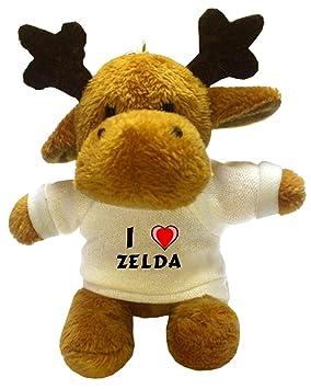 Ciervo de peluche (llavero) con Amo Zelda en la camiseta (nombre de pila