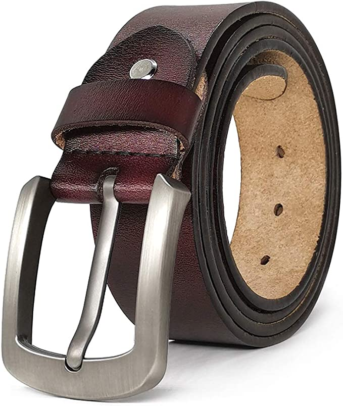 JingHao Belts for Men Genuine Leather Casual Belt for Dress Jeans Regular