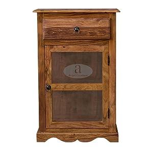 ANGEL FURNITURE Rosewood Portland Small Kitchen Crockery Cabinet (Honey Finish)