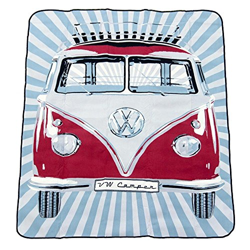 (BRISA VW Collection VW T1 Bus Picnic Blanket (200x150cm) with Carrying Bag - Samba Stripes/Red)