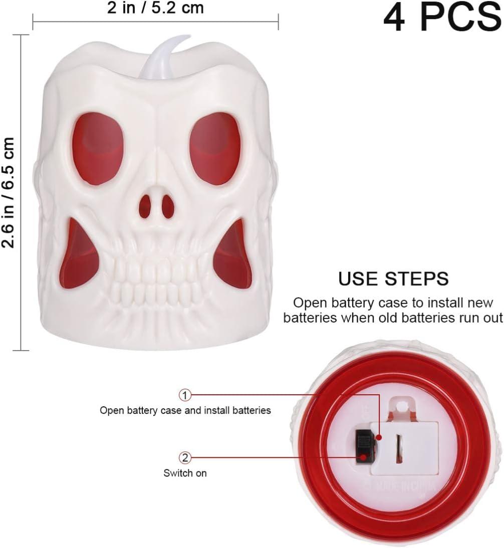 Skull Candle Light Flameless Skull Tea Lights LED Skeleton Light Halloween Candle Light for Home Party 4Pcs