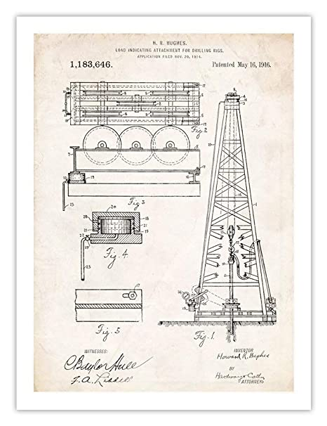 Howard Hughes Oil Drilling Rig Invention 18x24 Poster