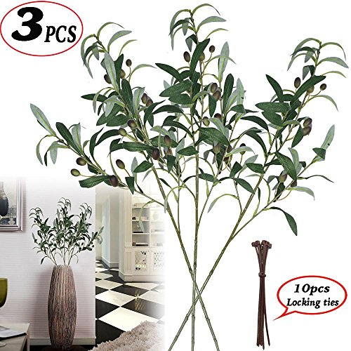 (28-Inch Artificial Olive Branches Plants Stems Fake Plants Green Leaves Fruits Branch Leaves for Home Office ndoor Outside DIY-Wreath Decor)