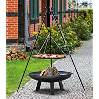 Schwenkgrill Grill-Set schwarz groß Stahl Swing Grill Garten ✔ rund dreieckig ✔ schwenkbar ✔ Grillen mit Holzkohle ✔ mit Dreibeinen