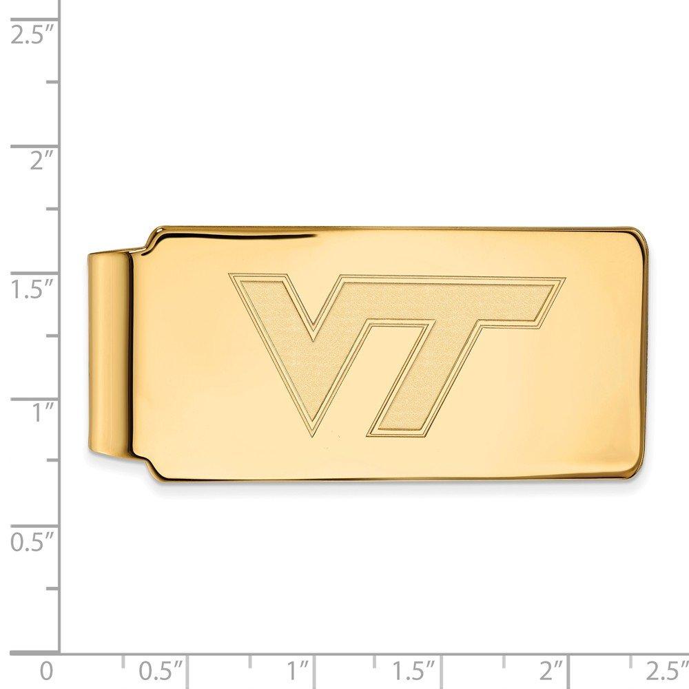 55mm x 26mm Solid 14k Yellow Gold Big Heavy Virginia Tech Money Clip