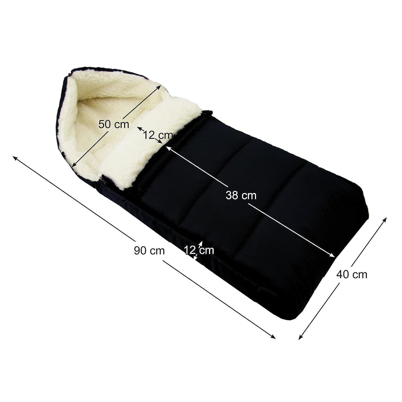 BAMBINIWELT universaler Winterfu/ßsack Kinderwagen aus Wolle UNI liniert SCHWARZ 90cm auch geeignet f/ür Babyschale Buggy