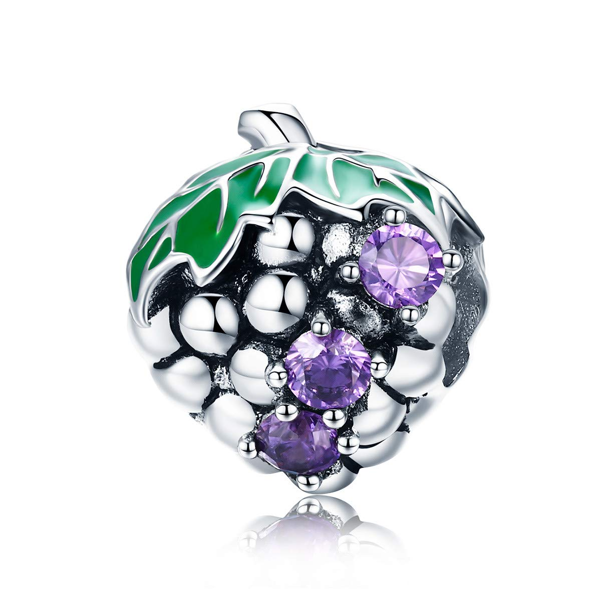 BAMOER 925 Sterling Silver Purple CZ Summer Grape Fruit Bead Charms for Bracelet Necklaces Jewelry Gift