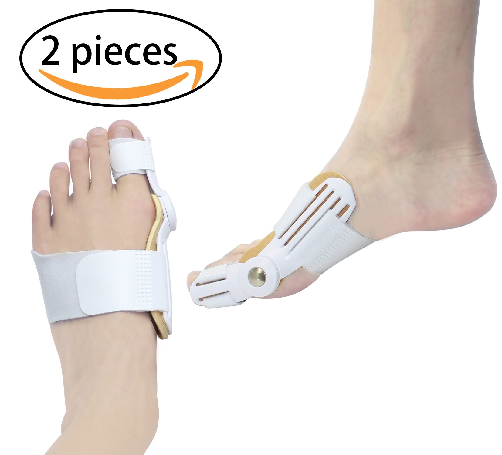 Bunion Corrector Splint and Bunion Relief Big Toe Straightener Pads Foot Bunion Protector (White)